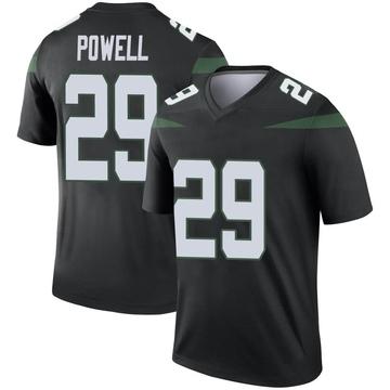 Men's Nike New York Jets Bilal Powell Stealth Black Color Rush Jersey - Legend