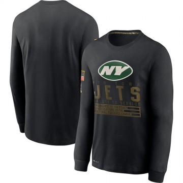 Men's New York Jets Black 2020 Salute to Service Sideline Performance Long Sleeve T-Shirt -