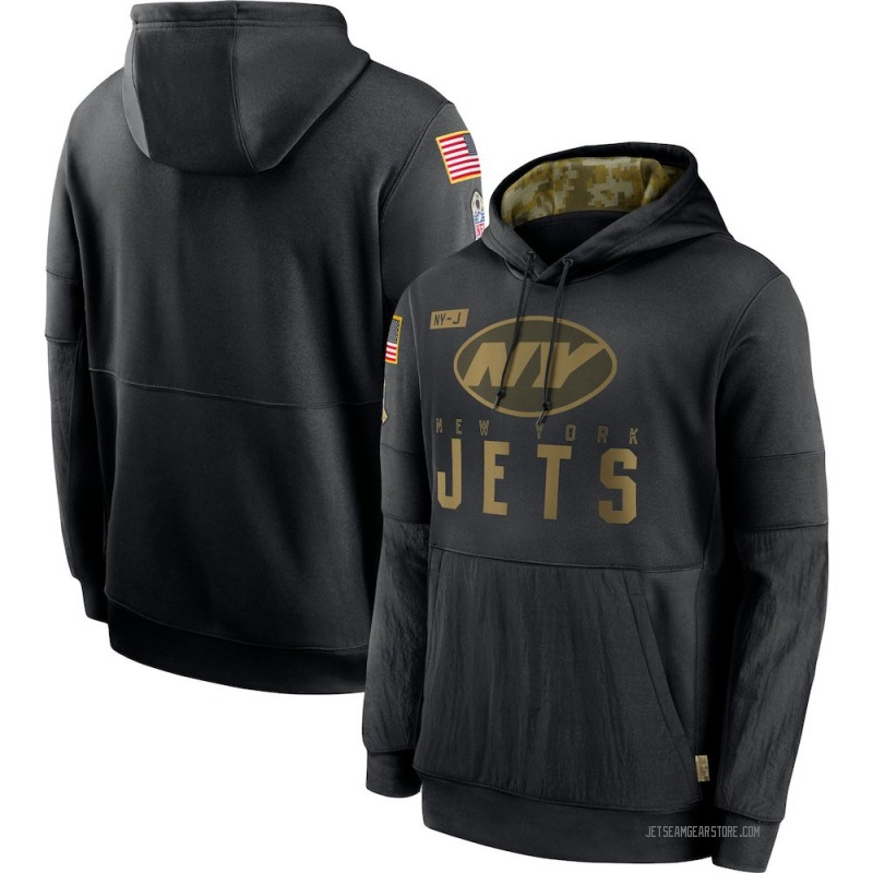 Men's Nike New York Jets Black 2020 Salute to Service Sideline Performance Pullover Hoodie -
