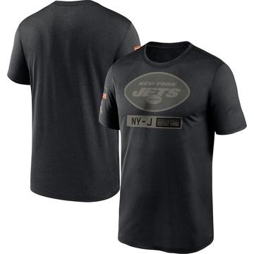 Men's New York Jets Black 2020 Salute to Service Team Logo Performance T-Shirt -