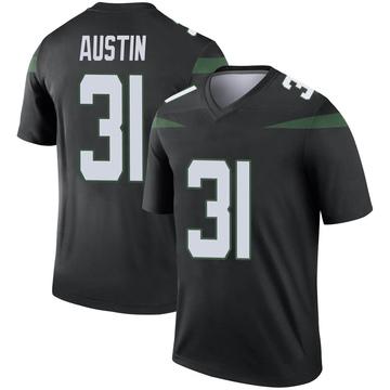 Men's Nike New York Jets Blessuan Austin Stealth Black Color Rush Jersey - Legend