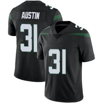 Men's Nike New York Jets Blessuan Austin Stealth Black Vapor Jersey - Limited