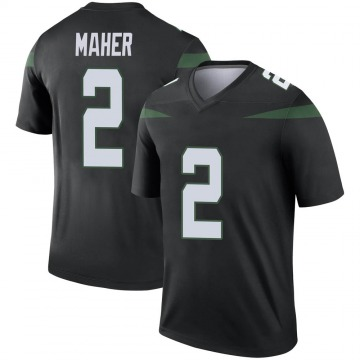Men's Nike New York Jets Brett Maher Stealth Black Color Rush Jersey - Legend