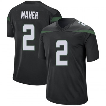 Men's Nike New York Jets Brett Maher Stealth Black Jersey - Game