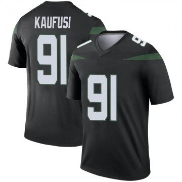 Men's Nike New York Jets Bronson Kaufusi Stealth Black Color Rush Jersey - Legend