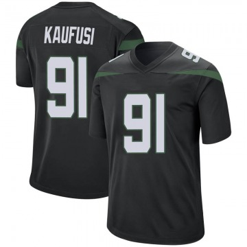 Men's Nike New York Jets Bronson Kaufusi Stealth Black Jersey - Game