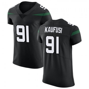 Men's Nike New York Jets Bronson Kaufusi Stealth Black Vapor Untouchable Jersey - Elite