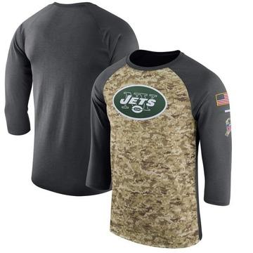 Men's Nike New York Jets Camo /Anthracite Salute to Service 2017 Sideline Performance Three-Quarter Sleeve T-Shirt - Legend