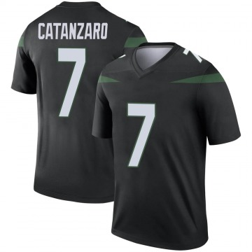 Men's Nike New York Jets Chandler Catanzaro Stealth Black Color Rush Jersey - Legend