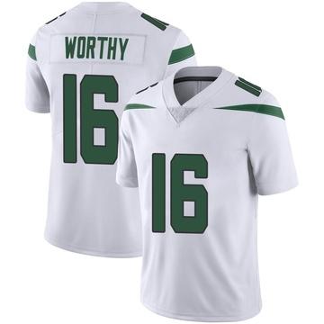 Men's Nike New York Jets Chandler Worthy Spotlight White Vapor Jersey - Limited