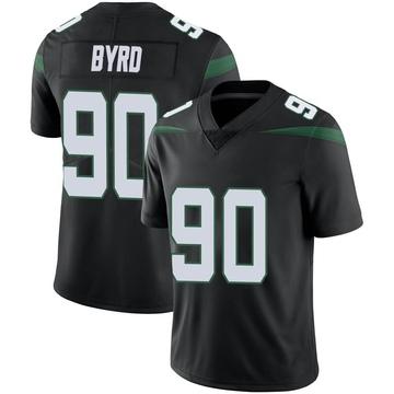 Men's Nike New York Jets Dennis Byrd Stealth Black Vapor Jersey - Limited