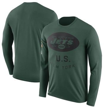 Men's Nike New York Jets Green 2018 Salute to Service Sideline Performance Long Sleeve T-Shirt - Legend