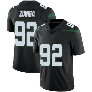 Men's Nike New York Jets Jabari Zuniga Stealth Black Vapor Jersey - Limited