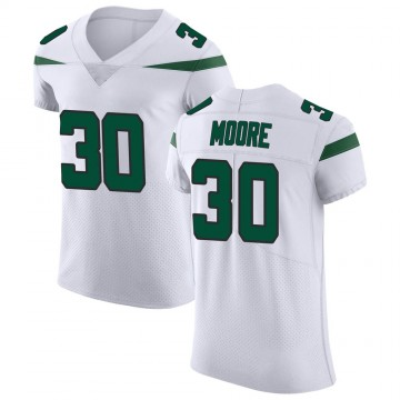 Men's Nike New York Jets Jalin Moore Spotlight White Vapor Untouchable Jersey - Elite