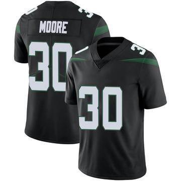 Men's Nike New York Jets Jalin Moore Stealth Black Vapor Jersey - Limited