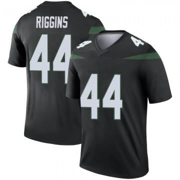 Men's Nike New York Jets John Riggins Stealth Black Color Rush Jersey - Legend