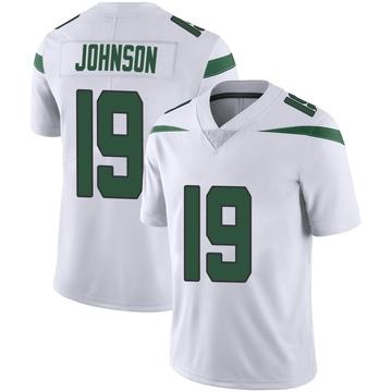 Men's Nike New York Jets Keyshawn Johnson Spotlight White Vapor Jersey - Limited