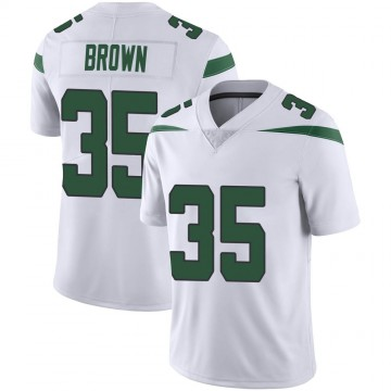 Men's Nike New York Jets Kyron Brown Spotlight White Vapor Jersey - Limited