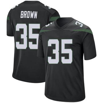 Men's Nike New York Jets Kyron Brown Stealth Black Jersey - Game