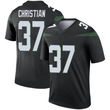 Men's Nike New York Jets Marqui Christian Stealth Black Color Rush Jersey - Legend