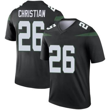 Men's Nike New York Jets Marqui Christian Stealth Black Color Rush Jersey - Legend