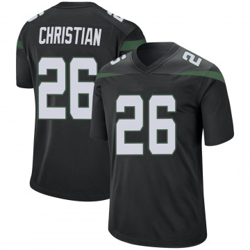 Men's Nike New York Jets Marqui Christian Stealth Black Jersey - Game