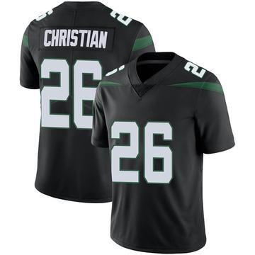 Men's Nike New York Jets Marqui Christian Stealth Black Vapor Jersey - Limited