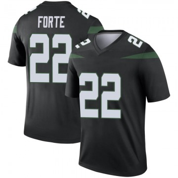 Men's Nike New York Jets Matt Forte Stealth Black Color Rush Jersey - Legend