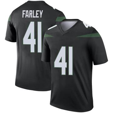 Men's Nike New York Jets Matthias Farley Stealth Black Color Rush Jersey - Legend