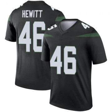 Men's Nike New York Jets Neville Hewitt Stealth Black Color Rush Jersey - Legend