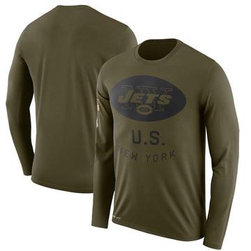 Men's Nike New York Jets Olive 2018 Salute to Service Sideline Performance Long Sleeve T-Shirt - Legend
