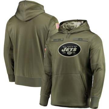 Men's Nike New York Jets Olive 2018 Salute to Service Sideline Therma Performance Pullover Hoodie -
