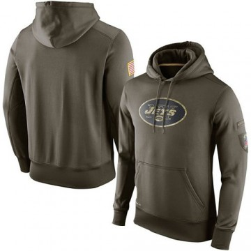 Men's Nike New York Jets Olive Salute To Service KO Performance Hoodie -
