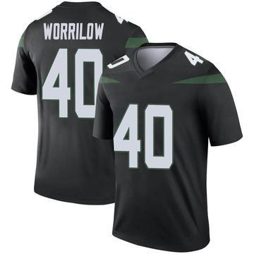 Men's Nike New York Jets Paul Worrilow Stealth Black Color Rush Jersey - Legend