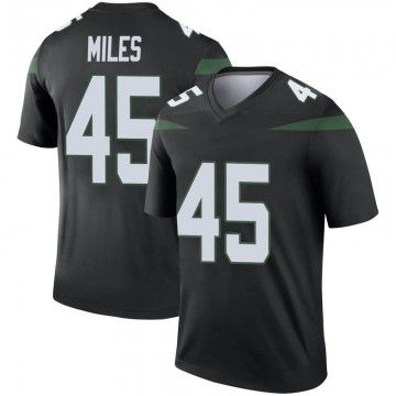 Men's Nike New York Jets Rontez Miles Stealth Black Color Rush Jersey - Legend