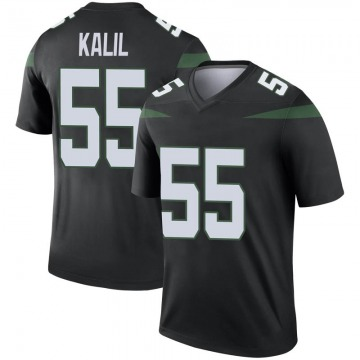 Men's Nike New York Jets Ryan Kalil Stealth Black Color Rush Jersey - Legend