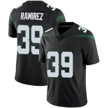 Men's Nike New York Jets Santos Ramirez Stealth Black Vapor Jersey - Limited
