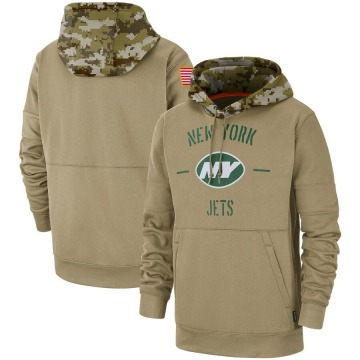 Men's Nike New York Jets Tan 2019 Salute to Service Sideline Therma Pullover Hoodie -