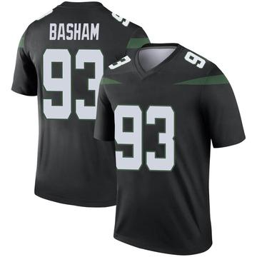 Men's Nike New York Jets Tarell Basham Stealth Black Color Rush Jersey - Legend
