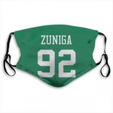 New York Jets Jabari Zuniga Green Jersey Name & Number Face Mask