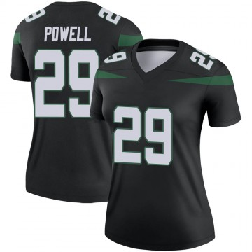 Women's Nike New York Jets Bilal Powell Stealth Black Color Rush Jersey - Legend