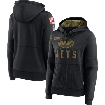 Women's New York Jets Black 2020 Salute to Service Performance Pullover Hoodie -