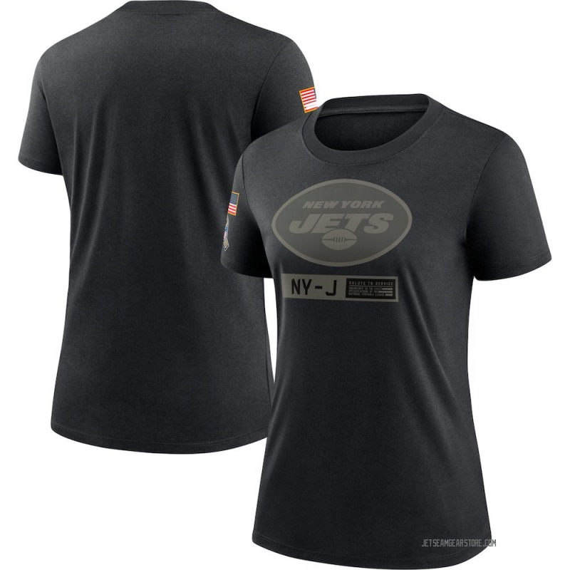 Women's Nike New York Jets Black 2020 Salute To Service Performance T-Shirt -