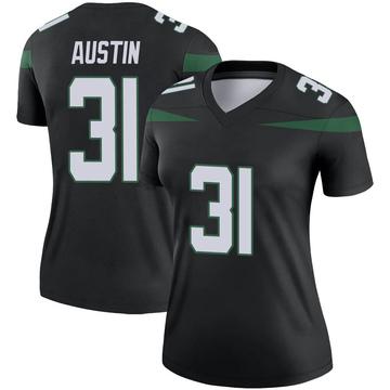 Women's Nike New York Jets Blessuan Austin Stealth Black Color Rush Jersey - Legend