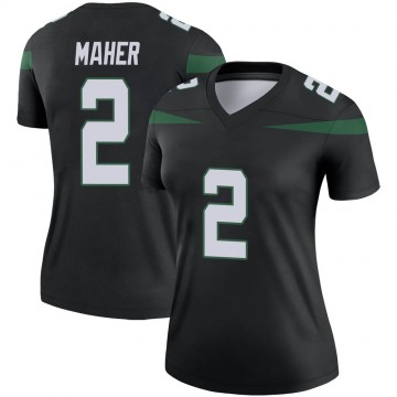 Women's Nike New York Jets Brett Maher Stealth Black Color Rush Jersey - Legend