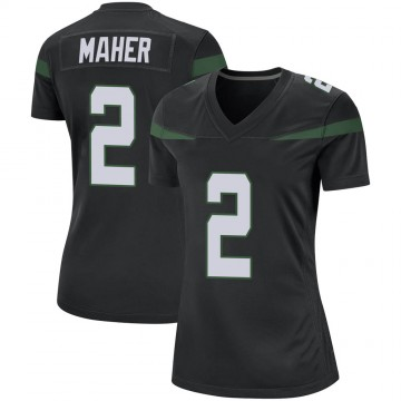 Women's Nike New York Jets Brett Maher Stealth Black Jersey - Game