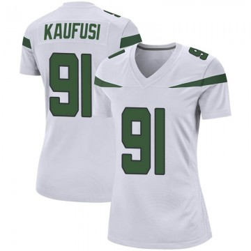Women's Nike New York Jets Bronson Kaufusi Spotlight White Jersey - Game