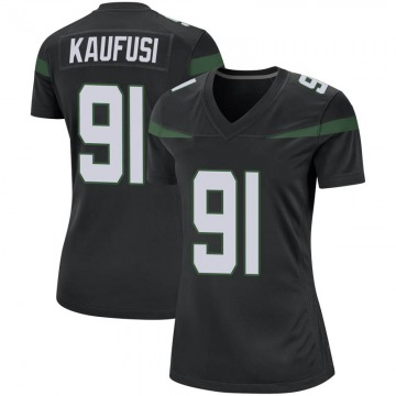 Women's Nike New York Jets Bronson Kaufusi Stealth Black Jersey - Game