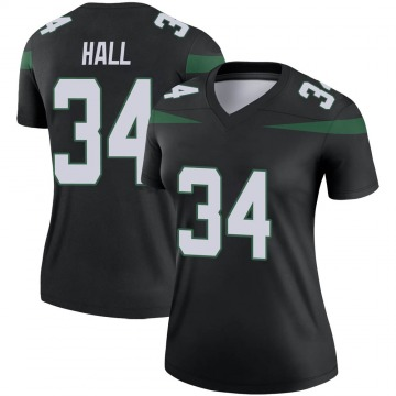 Women's Nike New York Jets Bryce Hall Stealth Black Color Rush Jersey - Legend