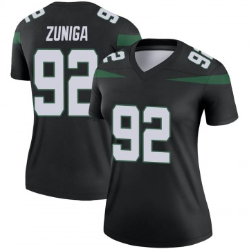 Women's Nike New York Jets Jabari Zuniga Stealth Black Color Rush Jersey - Legend